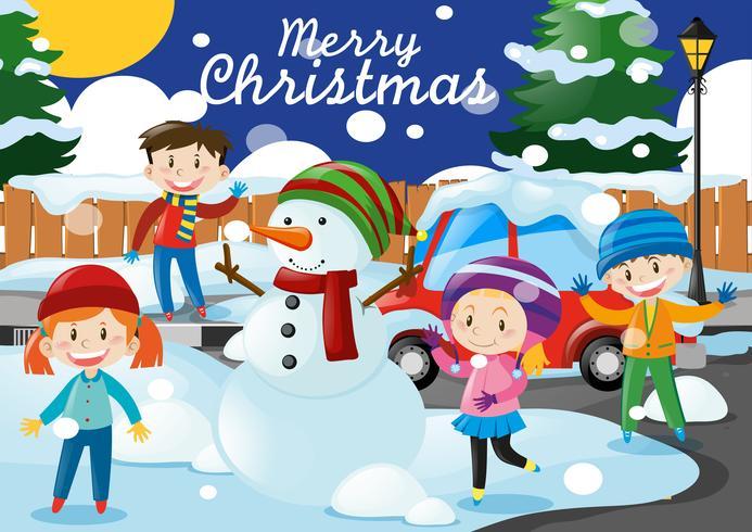 Jultema med barn och snögubbe i byn