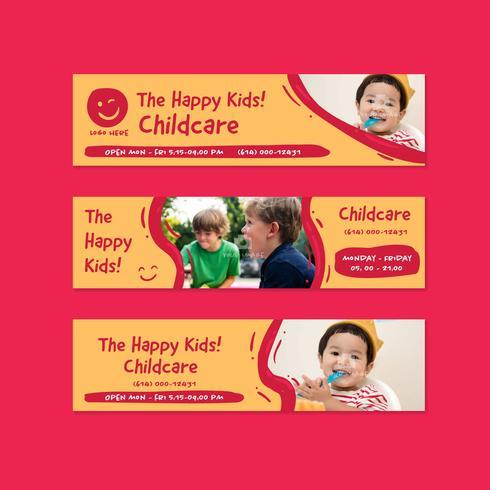 kindergarten childcare banner flyer design template in doodle fun cartoon kids style