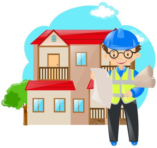 Ingenieur die blauwdrukken van huis houdt