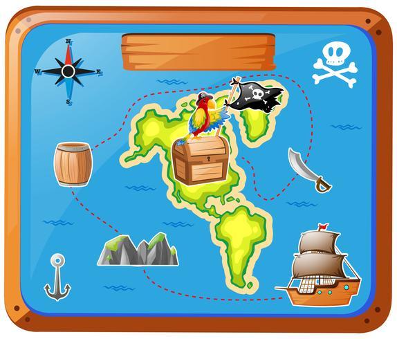 Barco viajando en el mar con mapa