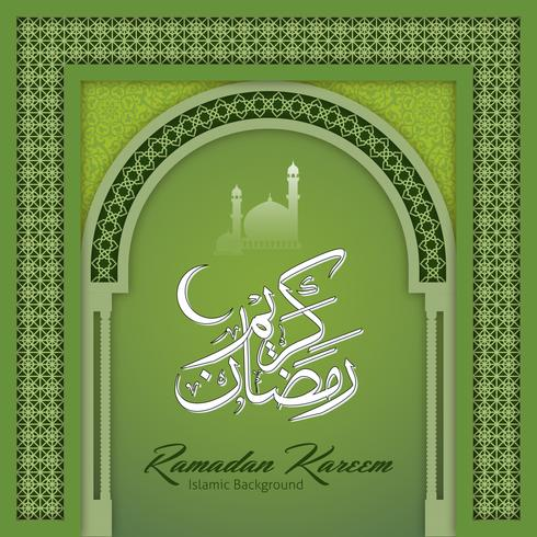 Ramadan Kareem Gruß-Hintergrund-islamischer Bogen