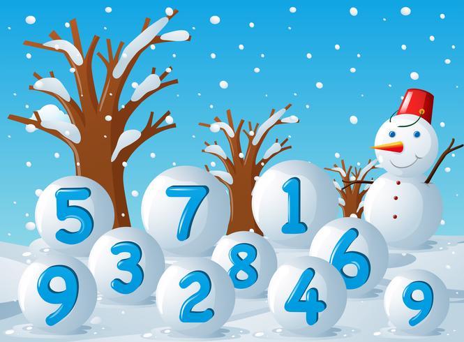 Escena con números en bolas de nieve