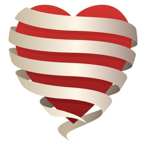 Schönes romantisches Herz in einem fließenden Banner, perfekt für Liebe, Romantik,