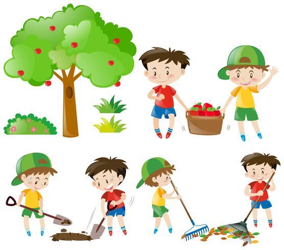 Conjunto de chicos haciendo trabajo de granja.