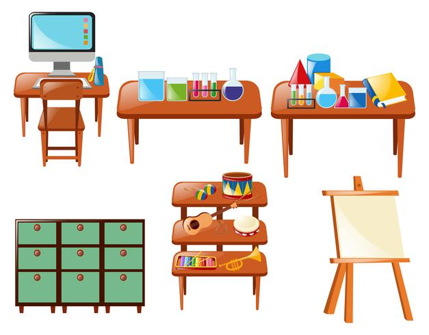 Objetos escolares diferentes na mesa