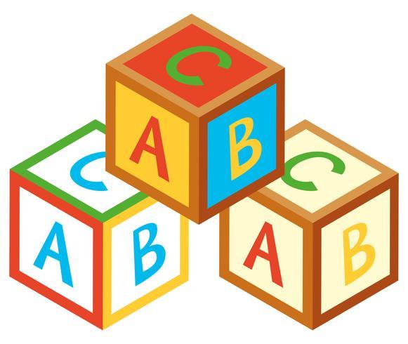 Diseño 3D para bloques alfabéticos.