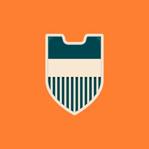 Modelo de distintivo de escudo em branco simples listras na cor vintage