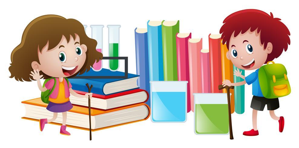 Niño y niña, con, libros, en, fondo
