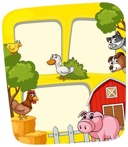Modelo de quadro com animais na fazenda