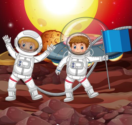 Two astronauts on strange planet vector