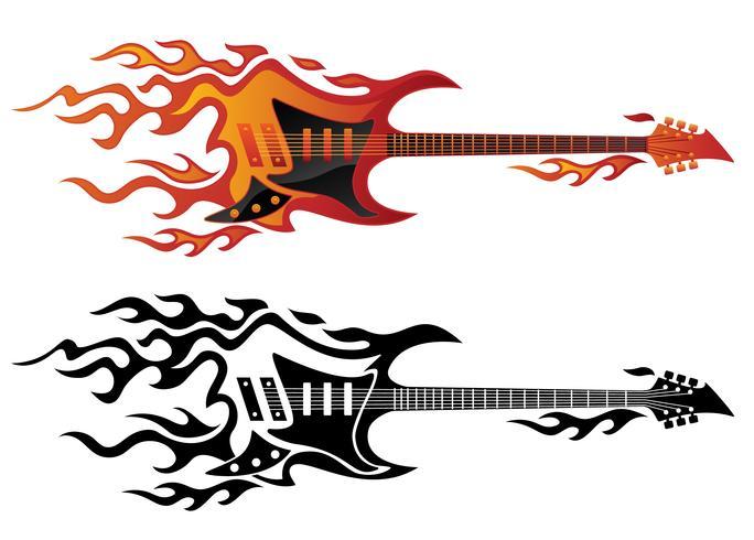 Elektrische gitaar in brand in volledige kleur en zwarte vlammen vectorillustratie