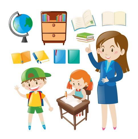 Conjunto de objetos escolares y personas en la escuela.