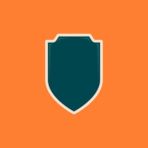 Bouclier blanc brillant simple ou forme d'insigne. Modèle de badge pour le logo ou à des fins