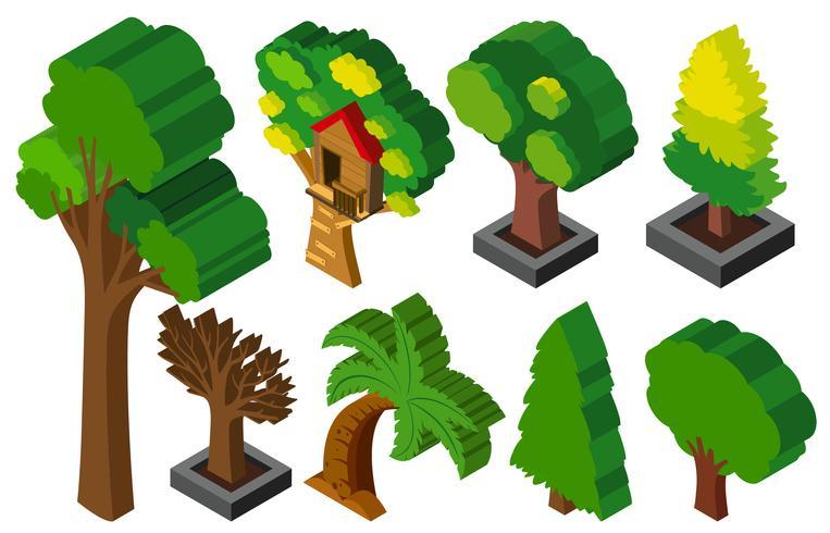 3D-design för många typer av träd