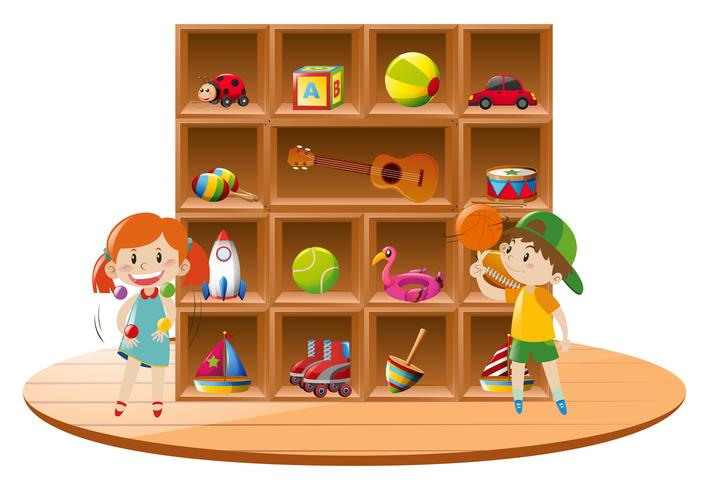 Niño y niña jugando con juguetes en la habitación