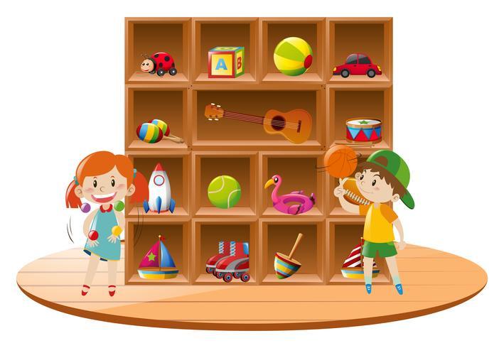 Pojke och tjej leker med leksaker i rummet vektor