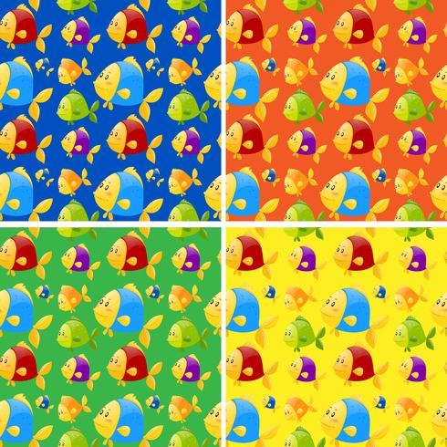 Fondo transparente con peces de colores vector
