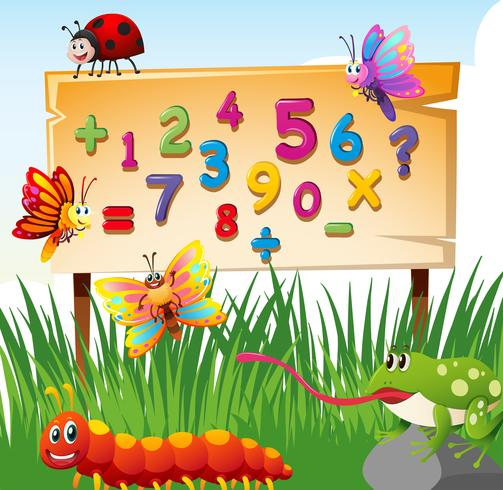 Numbers on board and many insects vector