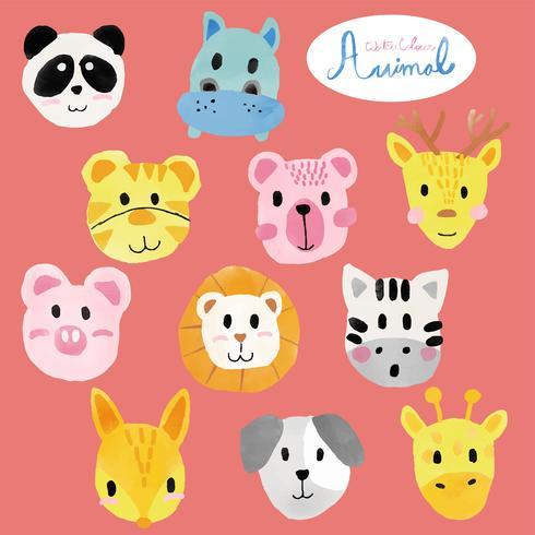 rostos de animais fofos aquarela vetor