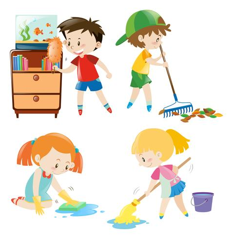 Four kids doing different chores at home