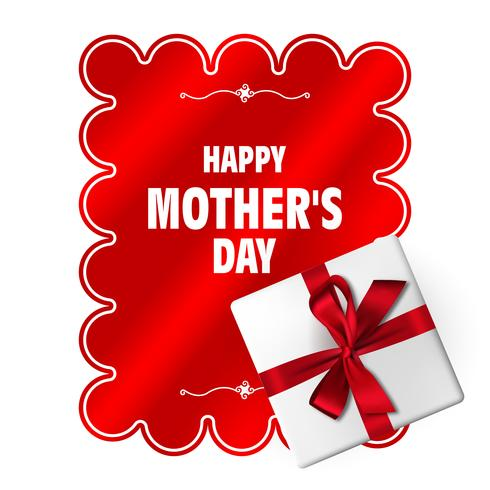Feliz día de la madre. Vector la plantilla del día de madre con la caja de regalo, el arco rojo y la cinta larga. Decoracion de fiesta