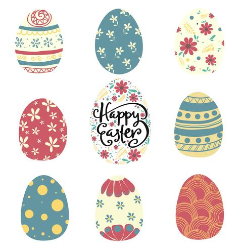 set of colorful pattern Easter egg flat vector