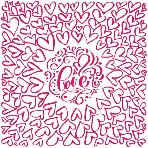 flourish calligraphy vintage love and hearts