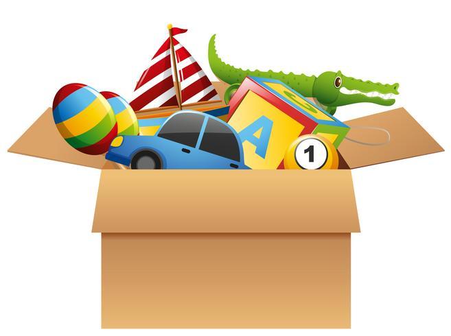 Veel speelgoed in bruine doos