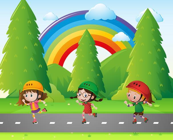 Tre barn skridskor i parken