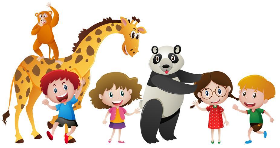 Crianças e muitos animais vetor