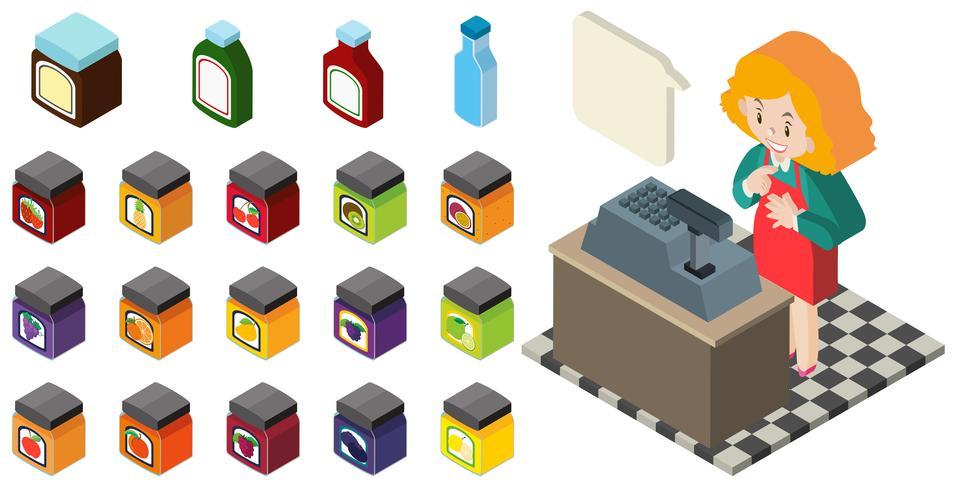Diseño 3D para tendero y diferentes productos. vector