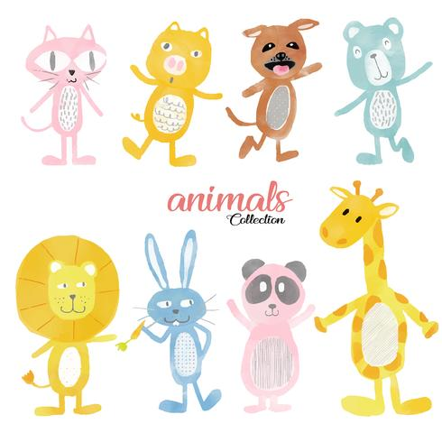 watercolour cute wild animals set vector