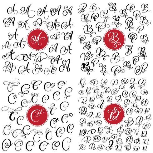 große Reihe von Hand gezeichneten Vektor Kalligraphie Buchstaben A, B, C, D