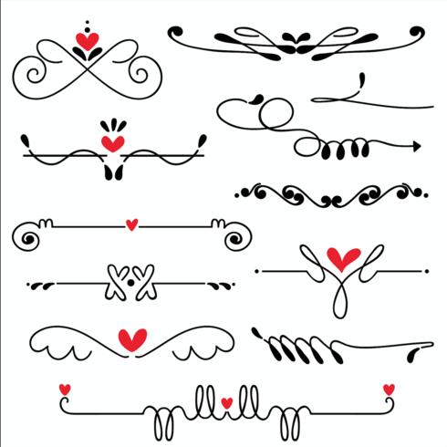 Hand gezeichnete skizzierte Linie Grenzhochzeitskunst-Vektorillustration