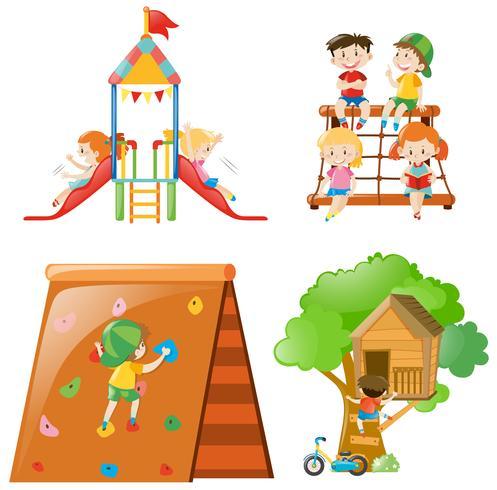 Muitas crianças brincando em diferentes estações de jogo