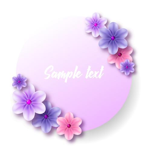 Etiqueta redonda y adhesivo con un ramo de tiernas flores azules.
