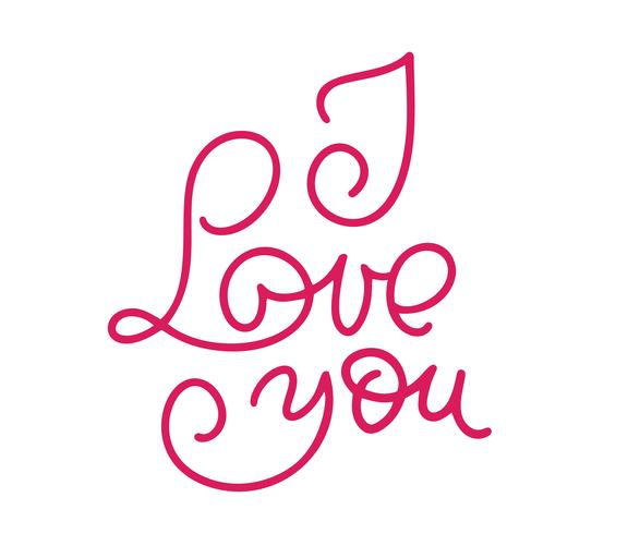 I love you monoline calligraphy. Valentines day calligraphy glitter card