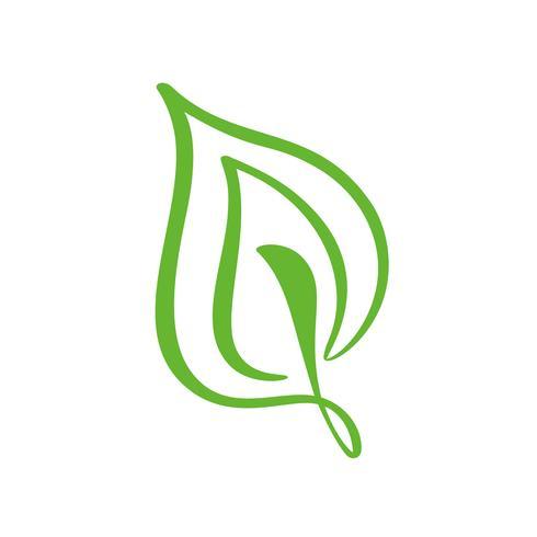 Logotipo da folha verde do chá. Ícone do vetor do elemento da natureza da ecologia floral. Caligrafia bio bio vegano mão ilustrações desenhadas