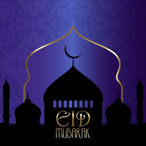 Fondo Eid Mubarak con siluetas de mezquitas. vector