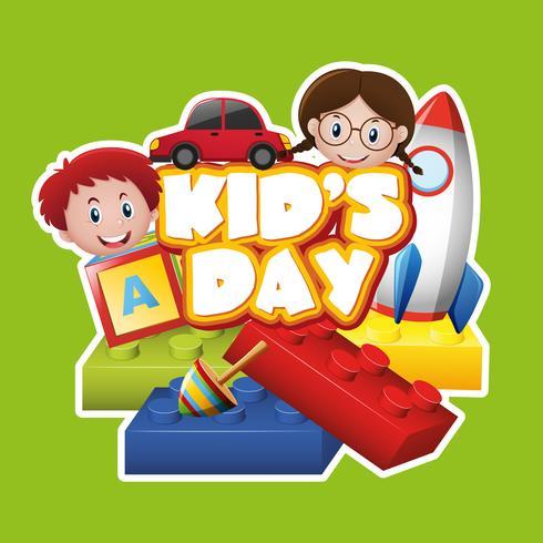 Diseño de cartel con niños y juguetes.