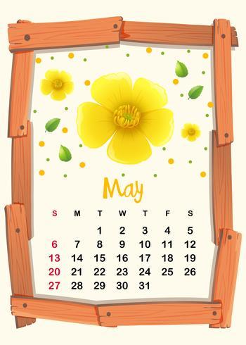 Plantilla de calendario con flor amarilla para mayo
