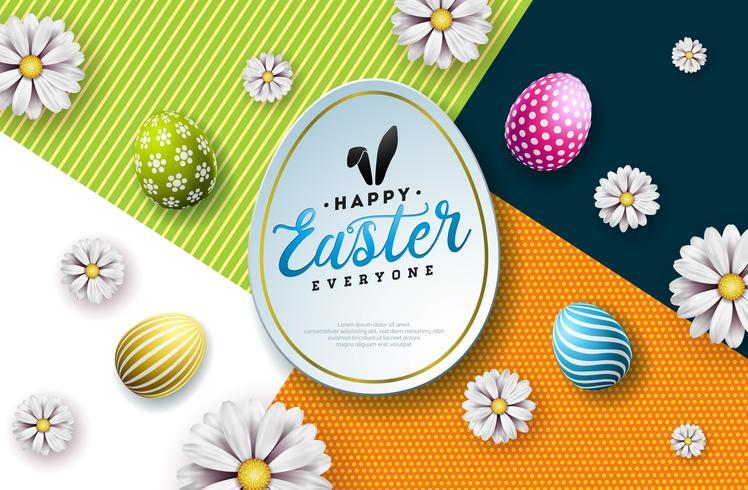 Vektor-Illustration von fröhlichen Ostern-Feiertag mit gemaltem Ei, den Kaninchenohren und der Frühlingsblume