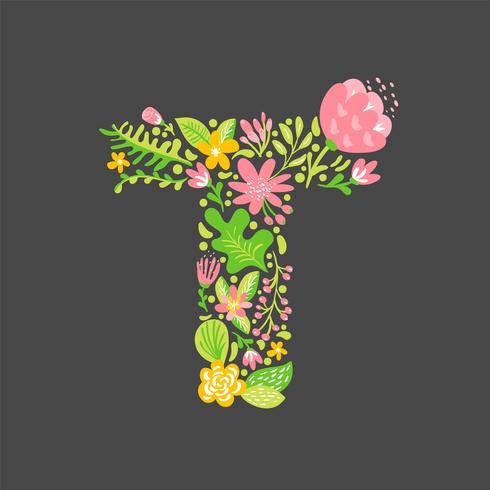 Floral summer Letter T. Flower Capital bruiloft alfabet in hoofdletters. Kleurrijke lettertype met bloemen en bladeren. Vector illustratie Groteske Scandinavische stijl