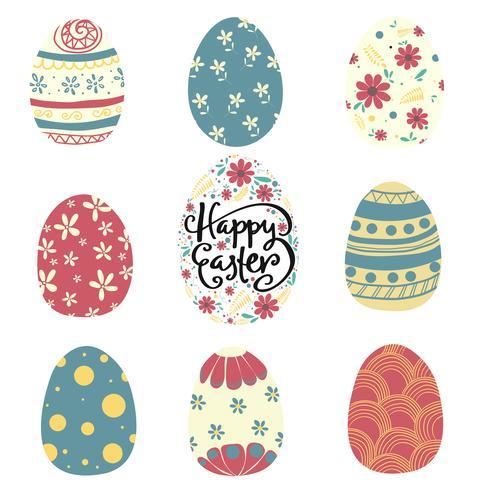 conjunto de patrón de colores vector plano de huevo de Pascua