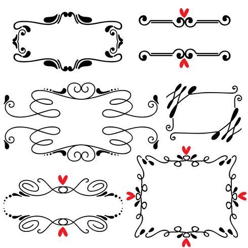 Illustration vectorielle de main dessinée ligne dessiné frontière frontière mariage art