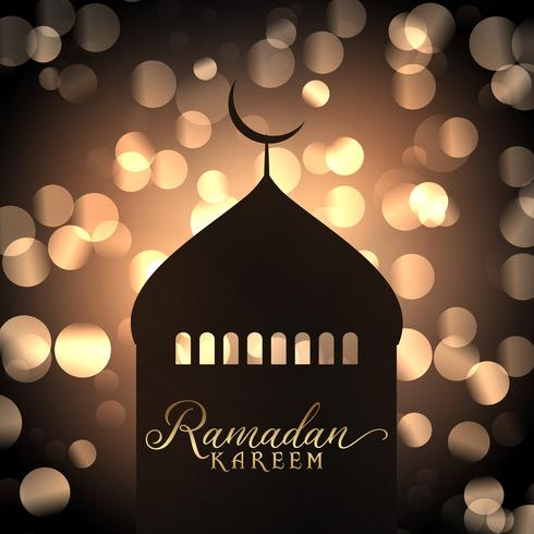 Ramadan Kareem background with mosque silhouette against gold bokeh lights vector