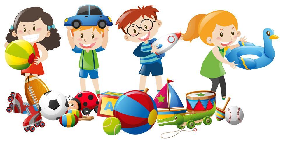 Muitas crianças brincando com brinquedos