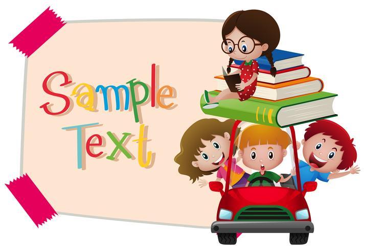 Plantilla de papel con niños en coche rojo