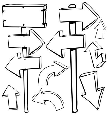 Diferentes diseños de flechas y tablas.