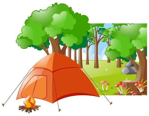 Skogsplats med tält och lägereld vektor